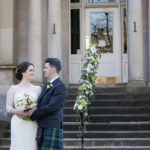 Bride and Groom on wedding day at One Devonshire Gardens Glasgow