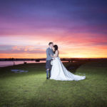 Bride and Groom in front of beautiful sunset