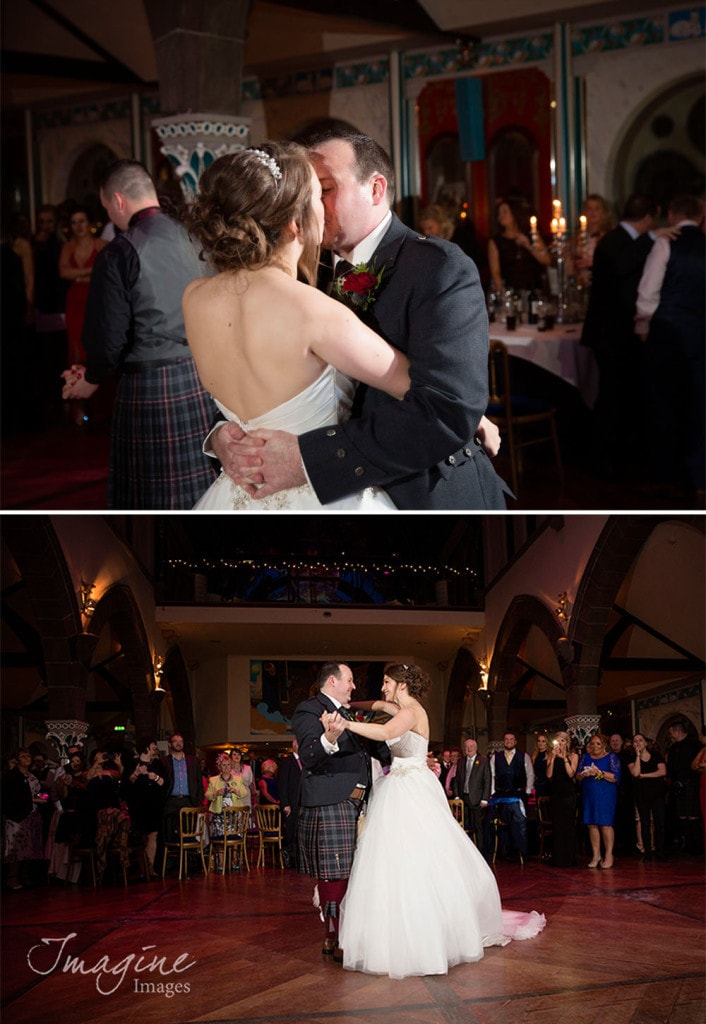 Bride and Groom on their wedding day first dance at Oran Mor