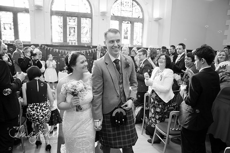 Bride and Groom wedding ceremony at Pollokshields Burgh Hall