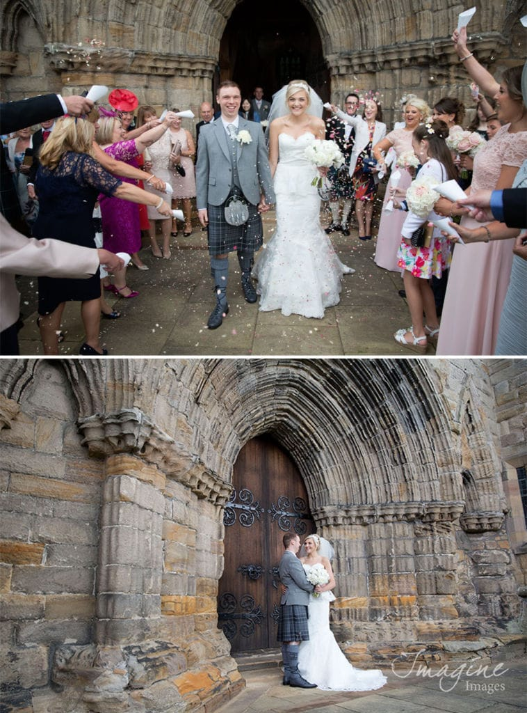 Bride and Groom on Wedding day at Dunblane Cathedral