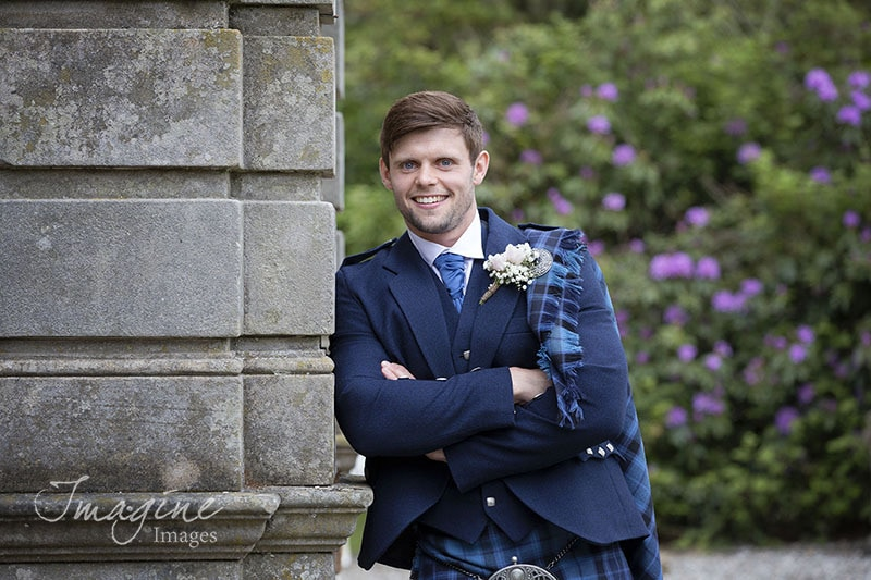 Groom on wedding day at Solsgirth House Hotel