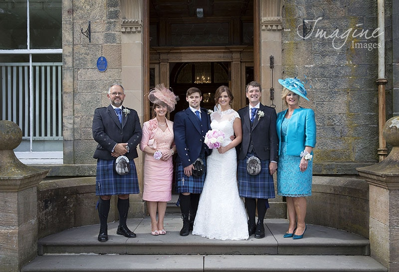 Family photograph on wedding day at Solsgirth House Hotel