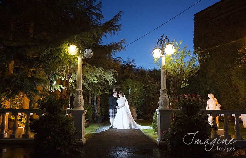 Bride and Groom at Bothwell Bridge Hotel on wedding day
