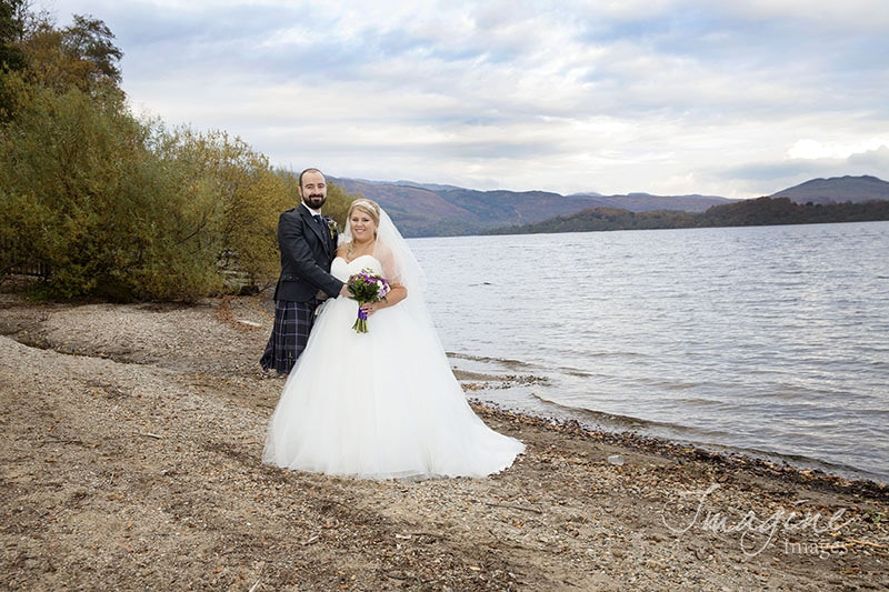Bride and Groom at Lodge on Loch Lomond