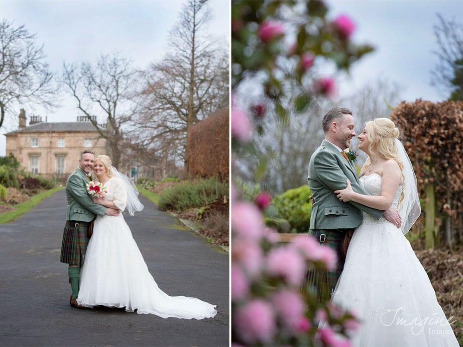 Bride and groom in Botanic Gardens Glasgow on wedding day