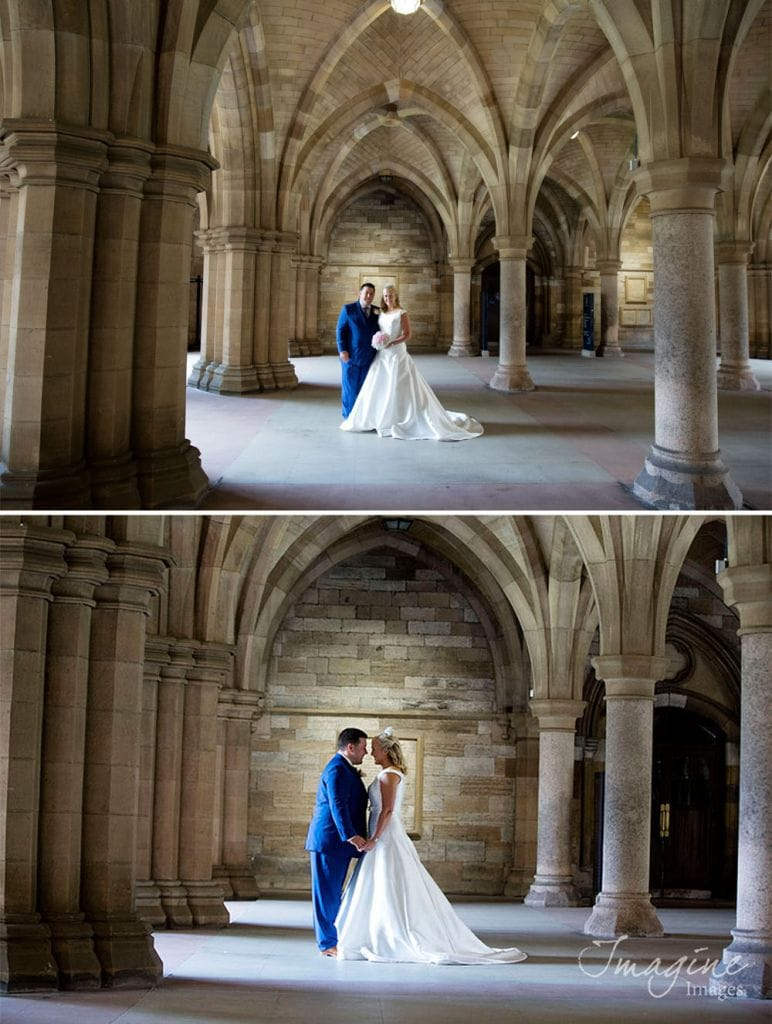 Bride and Groom on their wedding day at University of Glasgow