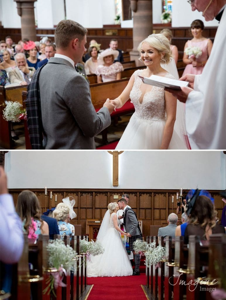 Bride and Groom on their wedding day at St Columba Church in Ayr