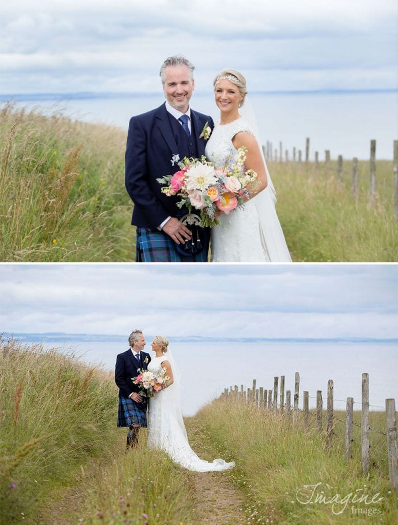 Bride and Groom on their wedding day at Kinkell Byre in St Andrews