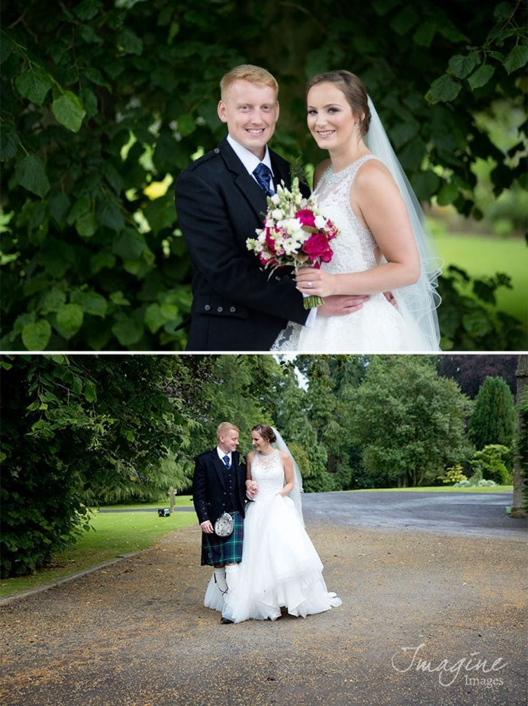 Bride and Groom on their wedding day at Craigsanquhar House Hotel in Cupar