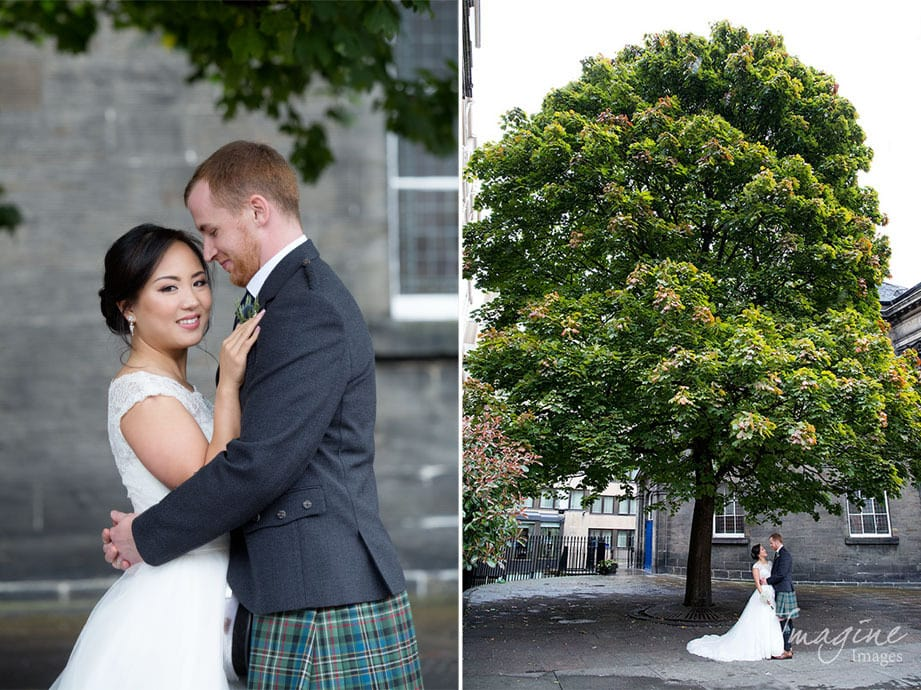 Bride and Groom on their wedding day at The George Hotel in Edinburgh