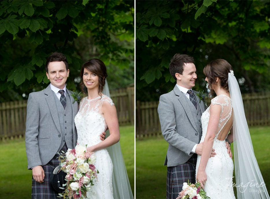 Bride and Groom on their wedding day at Dalziel Park Hotel