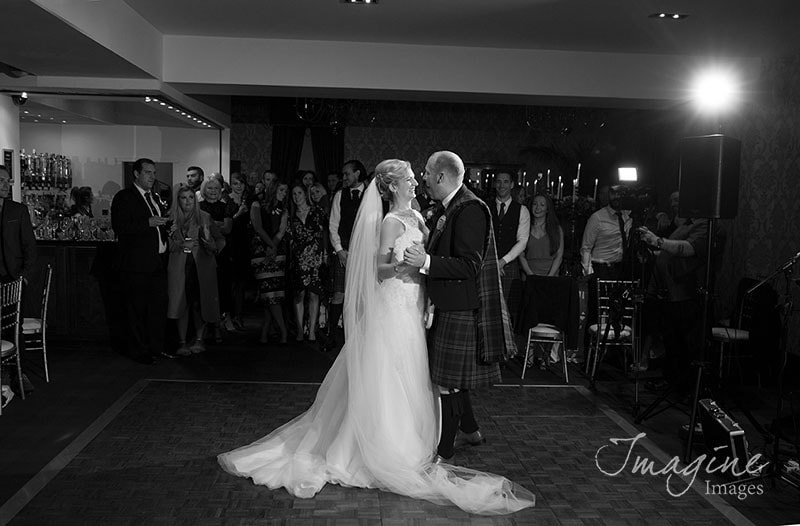 Bride and Groom on their wedding day at Glenbervie House Hotel