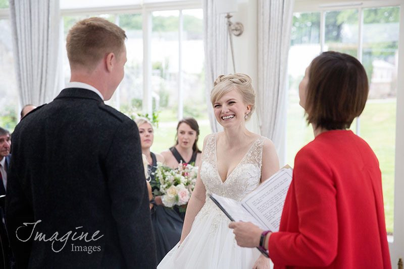 Wedding ceremony at Carlowrie Castle