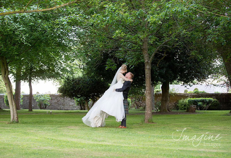 Bride and Groom on their wedding day at Carlowrie Castle in Edinburgh